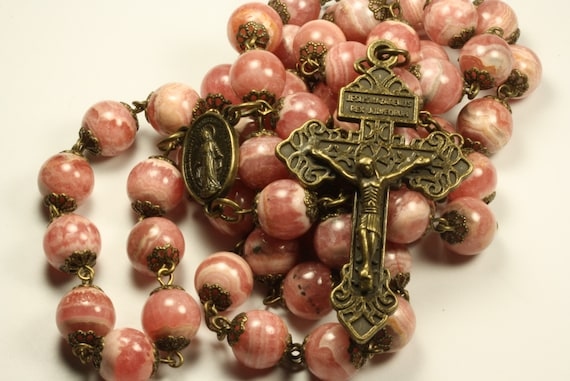 10mm Peruvian Rhodochrosite  Rosary in Bronze with Pardon Crucifix made in Oklahoma