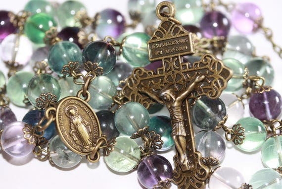 Huge 10mm Fluorite and Bronze Handmade Rosary Handmade in  Oklahoma 5 decade Pardon Crucifix