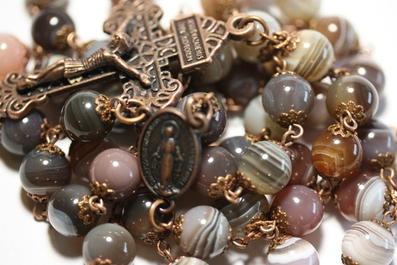 Large 10mm Nonfaceted (Smooth) Bead Botswana Agate in Copper Rosary made in Oklahoma