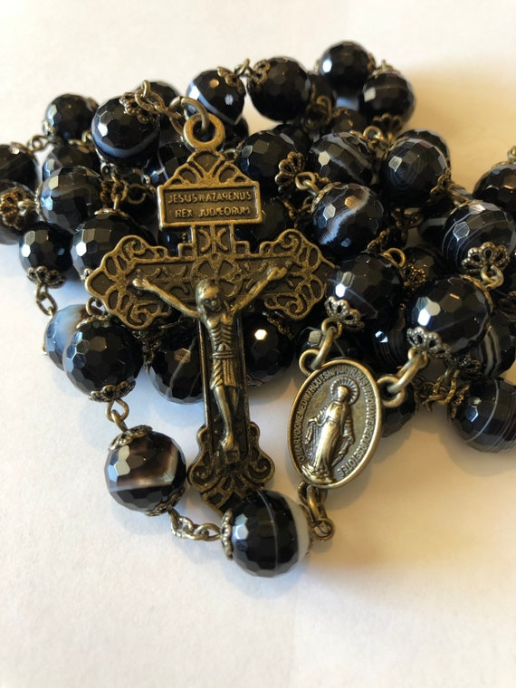 Large Black Faceted Striped Agate in Bronze 10mm 5 Decade Bead Rosary Made in Oklahoma