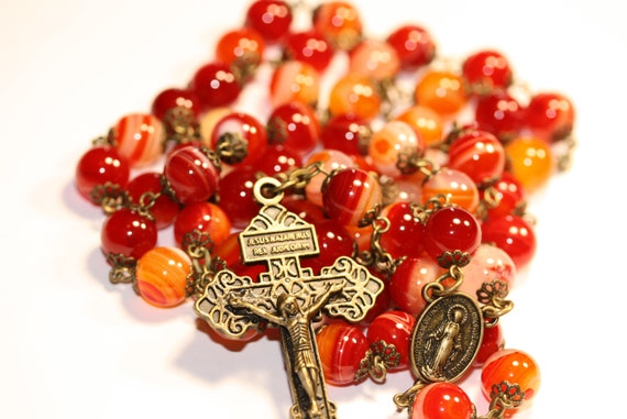 Large 10mm Red Orange Striped Agate and Bronze Handmade Rosary Handmade in  Oklahoma 5 decade Pardon Crucifix