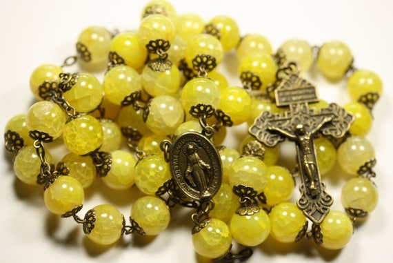 Coffee Table Rosary - Large 12mm Striped Green Agate and Bronze Handmade Rosary Handmade in  Oklahoma 5 decade Pardon Crucifix