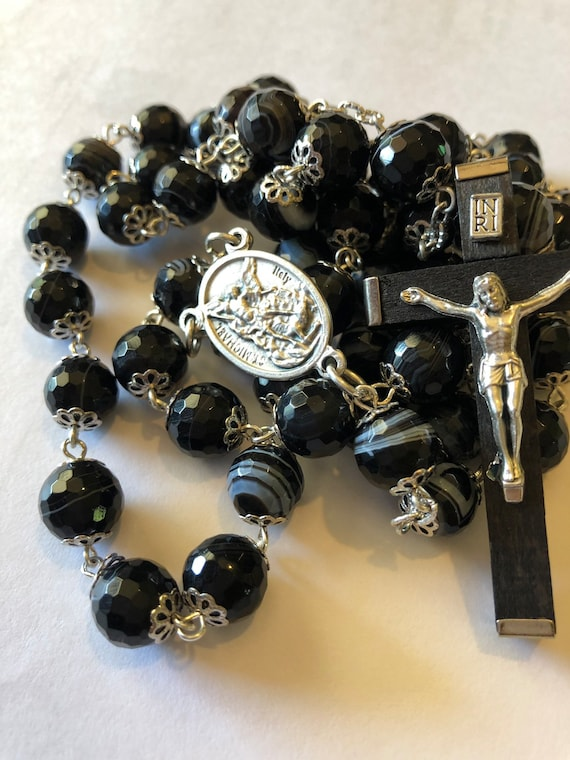 Large Saint Michael and Gaurdian Angle (two sided center) Black Striped Agate in silver 10mm 5 Decade Bead Rosary Made in Oklahoma