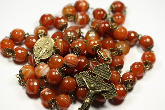 Coffee Table Rosary - Large 12mm Faceted Orange Striped Agate and Bronze Handmade Rosary Handmade in  Oklahoma 5 decade Pardon Crucifi