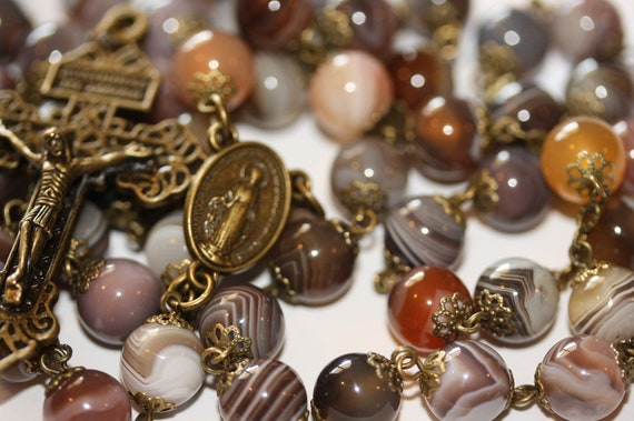 Smooth Bead10mm Botswana Agate Rosary in Bronze Made in Oklahoma with Pardon Crucifix