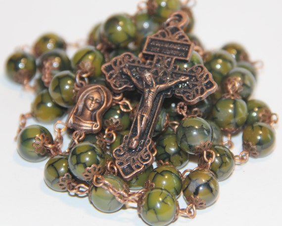 Dragon's Vein and Copper oversized 10mm rosary with Pardon Crucifix handmade in Oklahoma