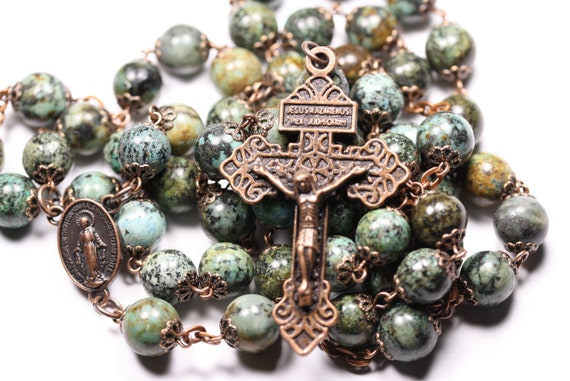 Huge African 10mm Turquoise and Smooth Bead Rosary in  Copper Handmade in Oklahoma