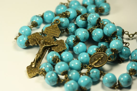 10mm Large Imitation Blue Turquoise and Bronze Rosary Made in Oklahoma with Pardon Crucifix