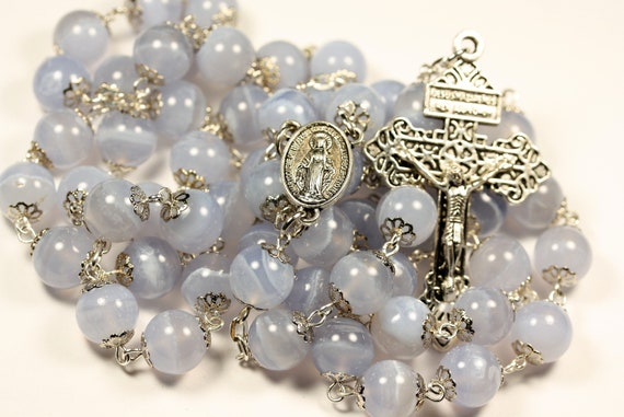 10mm Blue Lace Agate Rosary in Silver with Pardon Crucifix made in Oklahoma
