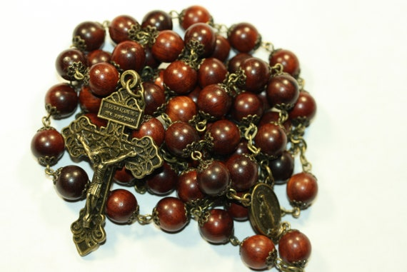 Large 10mm Red Wood Rosary in Bronze made in  Oklahoma 5 decade Pardon Crucifix very very light weight