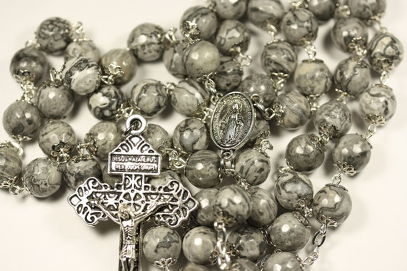 Large Gray Lace Jasper in Silver 10mm 5 Decade Bead Rosary Made in Oklahoma