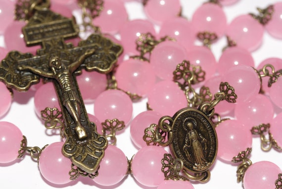 Pink Rose Quartz in Bronze made in Oklahoma with Pardon Crucifix