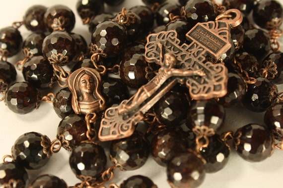 Oklahoma made 10mm Garnet and Copper Rosary with bead caps HEAVY