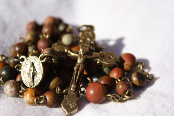 8mm Picasso and  Bronze Rosary Handmade in Oklahoma