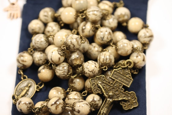 Large 10mm Feldspar Rosary in Bronze Made in Oklahoma with Pardon Crucifix