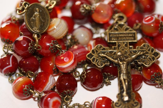 Large 10mm Red Striped Agate Rosary in Bonze with a Pardon Crucifix Made in Oklahoma