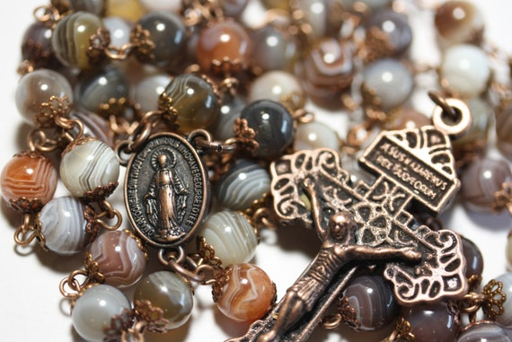 Standard 8mm Nonfaceted (Smooth) Bead Botswana Agate in Copper Rosary made in Oklahoma