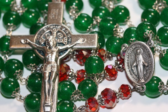 Decrative Christmas Rosary Green Dyed Jade and Crystal made in Oklahoma