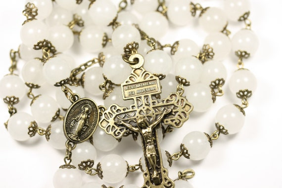 Large 10mm White Jade and Bronze Handmade Rosary Handmade in  Oklahoma 5 decade Pardon Crucifix