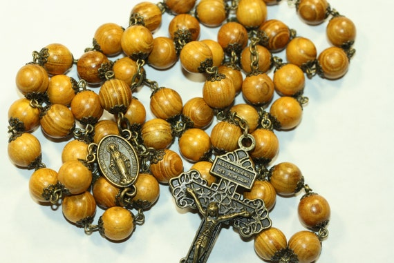 Large 10mm Blond Wood Rosary in Bronze made in  Oklahoma 5 decade Pardon Crucifix very very light weight