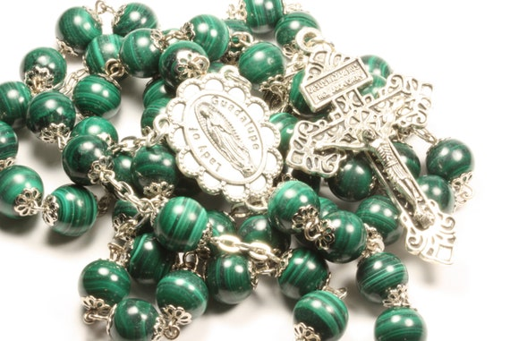 10mm Malachite  and Our Lady of Guadalupe Rosary in Silver with Pardon Crucifix made in Oklahoma