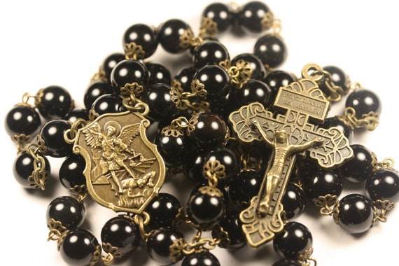 Large Bronze St. Michael and Onyx 10mm 5 Decade Bead Rosary with a Pardon Crucifix Made in Oklahoma