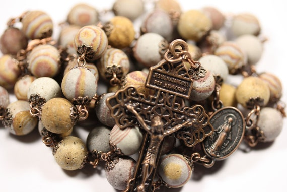 Large 10mm Red and Gold Zebra Jasper Rosary in Copper Made in Oklahoma with Pardon Crucifix