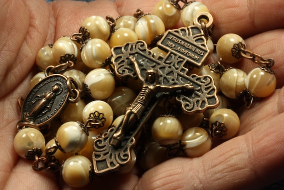 Standard 8mm Nonfaceted (smooth)  Natural Shell Bead Rosary in Copper  made in Oklahoma