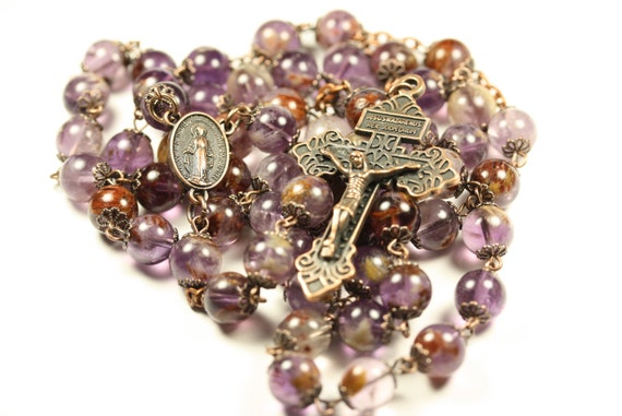 Large 10mm Purple Ghost Quartz and Copper  Bead Rosary Handmade in Oklahoma Catholic