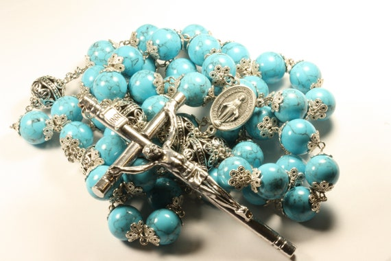 14mm Howlite Imitation Turquoise Stone Bead Wall Rosary in Silver made in Oklahoma