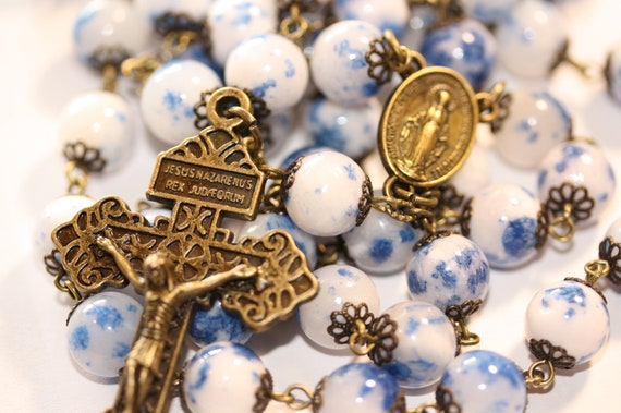 Blue Spot Jasper Rosary in Bronze made in Oklahoma with Pardon Crucifix