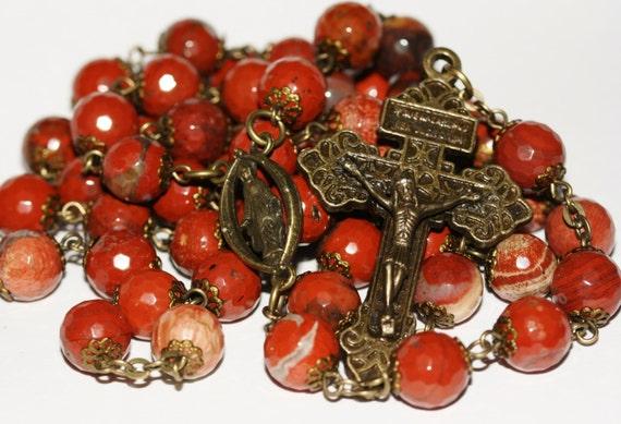 Large 10mm Red Poppy Jasper Bronze Oklahoma handmade Rosary
