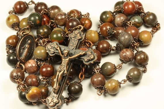 8mm Picasso and Bronze Rosary with Heart Crucifix made in Oklahoma