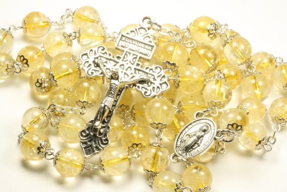 Large  10mm Citrine in Silver Handmade Rosary Handmade in  Oklahoma 5 decade Pardon Crucifix