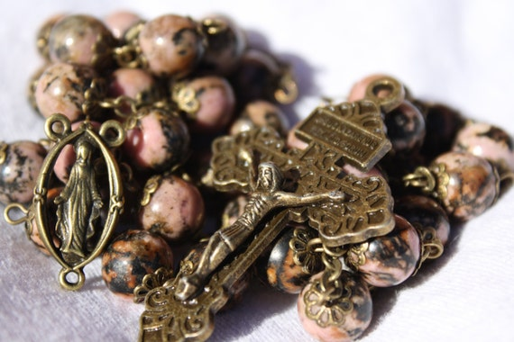 10mm Black Vein Rhodonite and Bronze Bead Rosary Handmade in Oklahoma Catholic