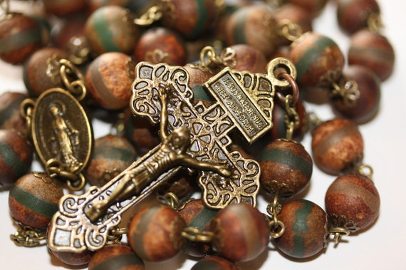 Dzi Agate with Green Stripe in Bronze 5 Decade Catholic Rosary Made in Oklahoma with Pardon Crucifix