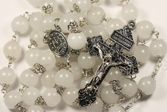 Large 10mm White Jade and Silver Handmade Rosary Handmade in  Oklahoma 5 decade Pardon Crucifix