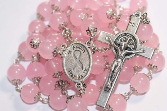 10mm Rose Quartz St. Agetha Breast Cancer Rosary made in Oklahoma