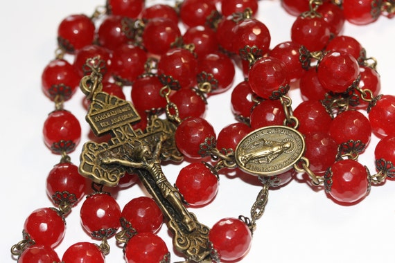 10mm Dyed Red Jade Rosary in Bronze made in Oklahoma