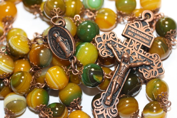 Huge 10mm Yellow and Green Agate Bronze Handmade Rosary Handmade in  Oklahoma 5 decade Pardon Crucifix