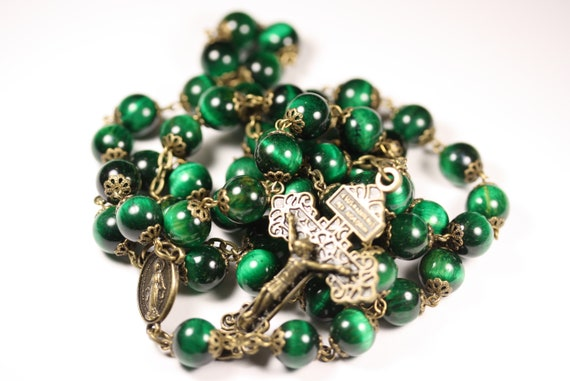10mm Green Tiger's Eye Rosary in Bronze with a Pardon Crucifix handmade in Oklahoma