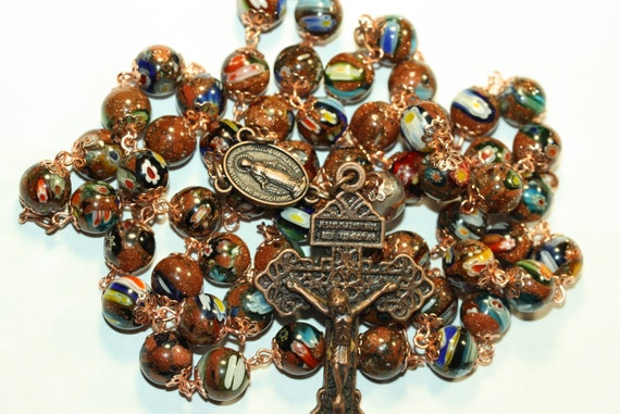 Large 10mm Goldstone and Milifiori (Million Flower) Glass Bead Rosary in Copper Handmade in  Oklahoma 5 decade Pardon Crucifix