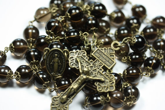 Large 10mm Smokey Topaz and Bronze Handmade Rosary Handmade in  Oklahoma 5 decade Pardon Crucifix