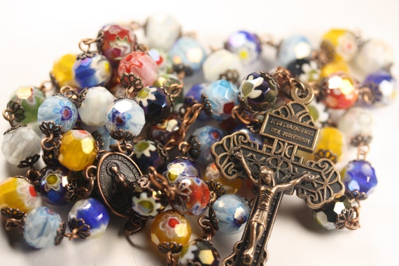 """Large 10mm Faceted Millefiori (French Glass """"Million Flower"""") in Copper Rosary made in Oklahoma"""