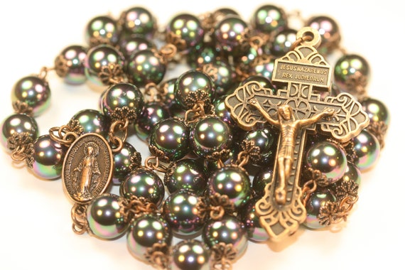 Large 10mm Black Sea Shell in Copper Handmade Rosary Handmade in  Oklahoma 5 decade Pardon Crucifix