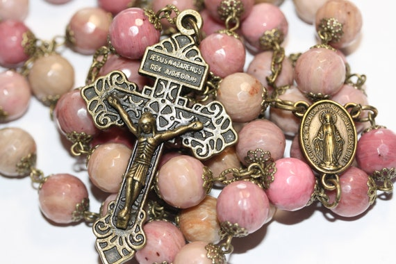 10mm Rhodocrosite Bead Rosary in Bronze made in Oklahoma