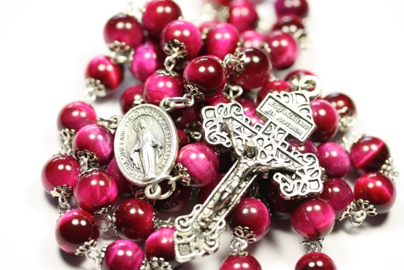 Large 10mm Nonfaceted (Smooth) Fushia Pink Tigereye in Silver Rosary made in Oklahoma