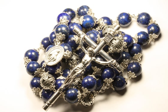 14mm Lapis Stone Bead Wall Rosary in Silver made in Oklahoma