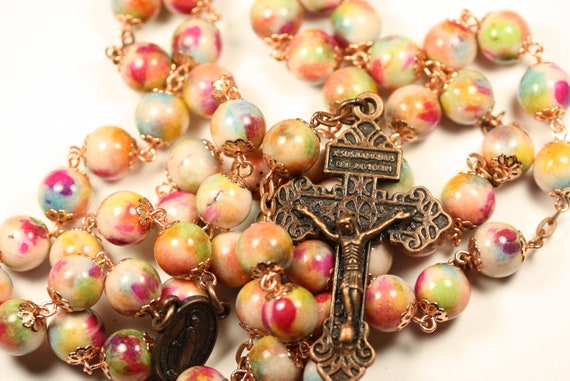 Large Painted Jasper with Bright Copper Bead Caps 10mm Rosary Made in Oklahoma