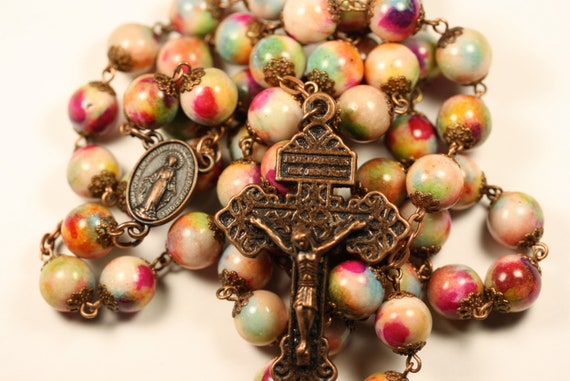 Large Painted Jasper in Antique Copper 10mm Rosary Made in Oklahoma